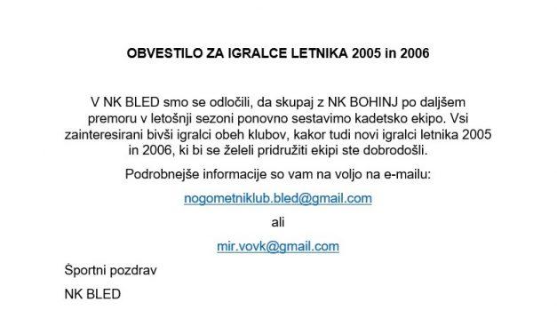 OBVESTILO za igralce letnika 2005 in 2006